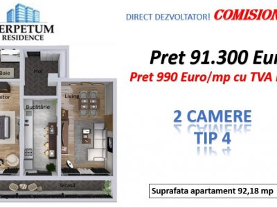 DIRECT DEZVOLTATOR! TOMIS NORD -2 camere TIP 4 in Perpetum Residence II
