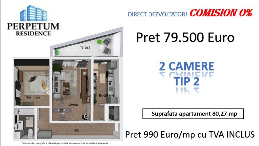 DIRECT DEZVOLTATOR! TOMIS NORD -2 camere TIP 2 in Perpetum Residence II  15